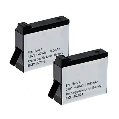 CELLONIC 2X Batería Premium Compatible con GoPro Hero 4 Black Edition Hero 4 Silver Edition Hero 4+ Hero 4 Plus Hero4, 1160mAh AHDBT-401 335-06532-000 bateria de Repuesto Pila reemplazo sustitución