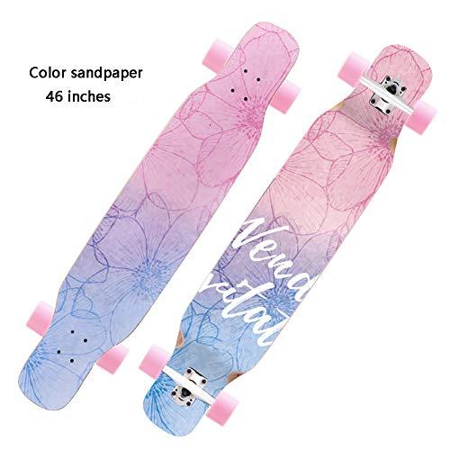 YGWL 46 Zoll Allrad Longboard,Jugend Anfänger Skateboard 8 Layer Maple Tragfähigkeit Bis 150 Kg Geeignet für Den Pendelverkehr Im Freien,A