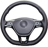 MEWANT Funda para volante de coche de piel sintética de color negro para Golf 7 Mk7 nuevo Polo B8 Tiguan para volante de cuero
