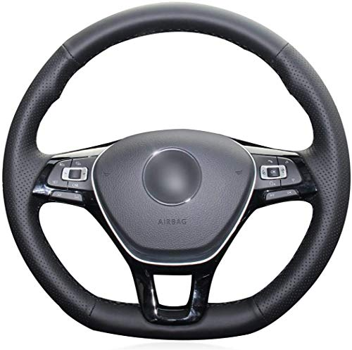 MEWANT Funda para volante de coche de piel sintética de col
