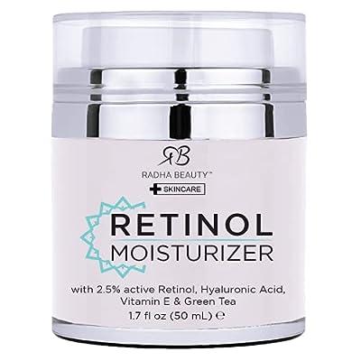 Radha Beauty Retinol Moisturizer Cream for Face and Eye Area 1.7 Oz - With Retinol, Hyaluronic Acid, vitamin e and Green Tea. Night and Day Moisturizing Cream