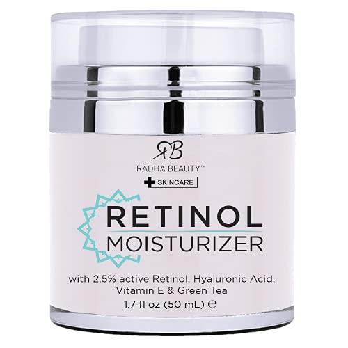 Radha Beauty Idratante miracolosa del retinolo per il viso con retinolo, acido ialuronico, vitamina E e tè verde (la migliore crema idratante diurna e notturna) 50mL