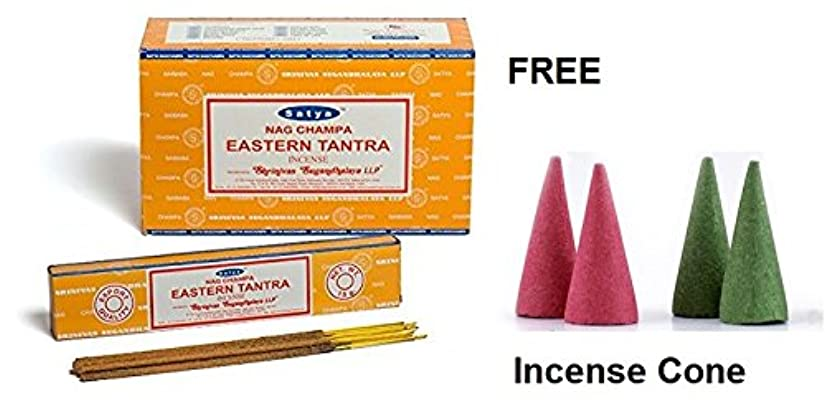 Buycrafty Satya Champa Eastern Tantra Incense Stick,180 Grams Box (15g x 12 Boxes) with 4 Free Incense Cone