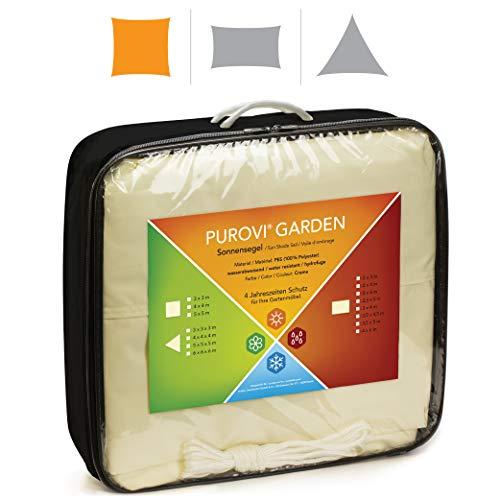 Purovi® Sonnensegel Quadrat | Verschiedene Größen | UV Schutz | wasserabweisendes PES | Größe 3 x 3m