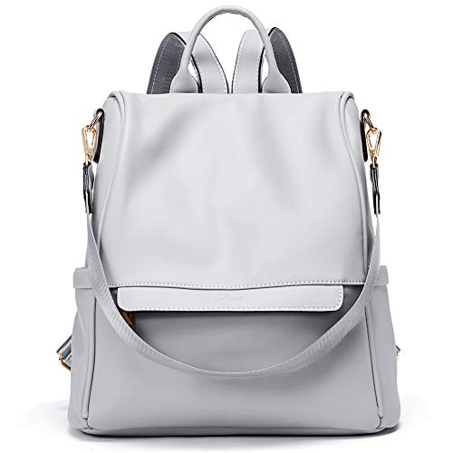 CLUCI Womens Backpacks Purse Fashion Leather Anti-theft Large Travel Bag Ladies Shoulder Bags Gray