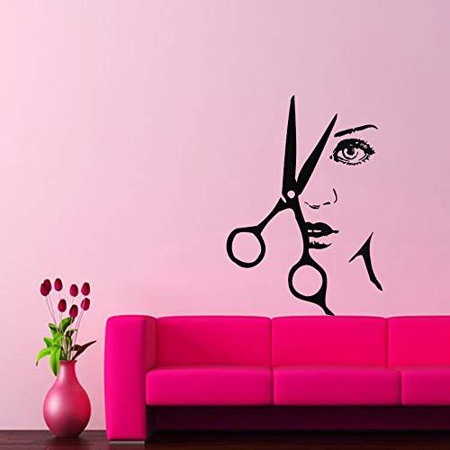Tatuajes de pared Belleza Peluquería Calcomanía Vinilo Etiqueta Tijeras Peine 57 * 80Cm