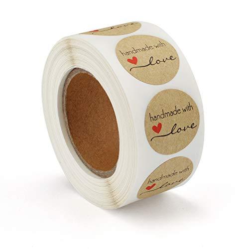 500 Stück Kraftpapier-Aufkleber,Handgemachte Aufkleber Label,Handmade with \'Handmade with Love\' Sticker für Backen Geschenktüten Briefumschlag Hochzeit Thanksgiving(2.5x2.5cm)