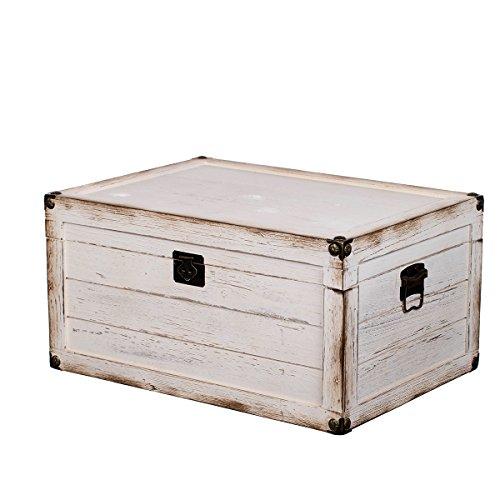 Sarah B BS 17001 Weiße ECHTHOLZ schwere stabile Truhe, Holztruhe, Schatzkiste,Kiste