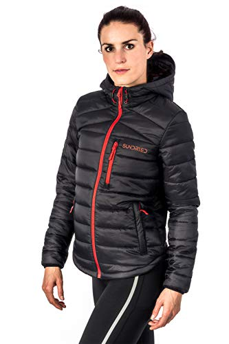 Sundried Dames gewatteerde zwarte warme winterjas met capuchon gewatteerde jas - gewatteerde warm, licht winterjas, waterafstotende regenjas, microvezel vuller - ideaal bij koud weer