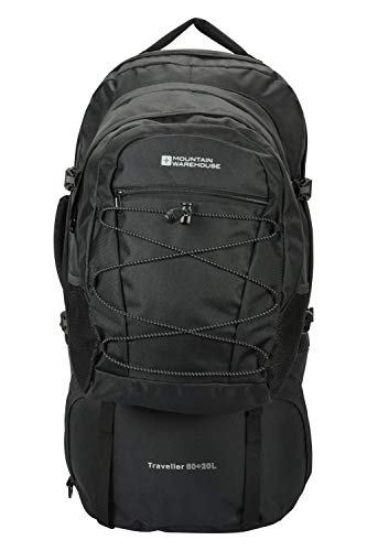 Mountain Warehouse Traveller 60 + 20L Rucksack - Durable Backpack with Rain Cover, Detachable Daypack, Adjustable Back Support - Great for Camping, Hiking, Travelling Black