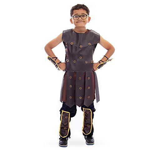 Boo! Inc. Mighty Warrior Boy's Halloween Costume | Roman Hero (L) Brown