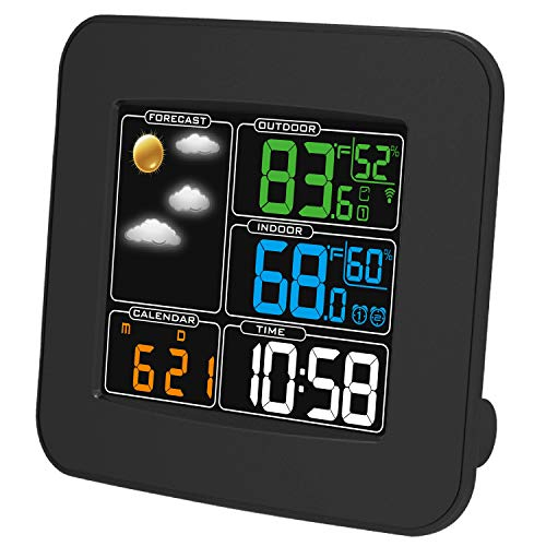 KT THERMO Wireless Color Weather Station-Best Outdoor thermometers Indoor Thermometer Weather Stations Wireless Indoor Outdoor Humidity Meter with Clock Alerts Calendar,