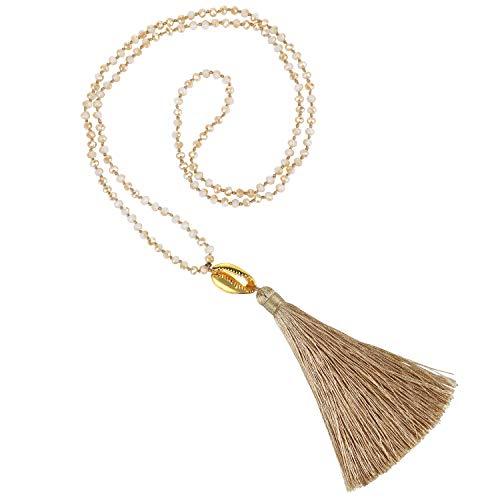 KELITCH New Gold Shell Cowry Beaded Strand Largo Borla Colgante Collar Declaración Cadena Hilos Collares Suéter Cadena para Mujeres (Champagne C)