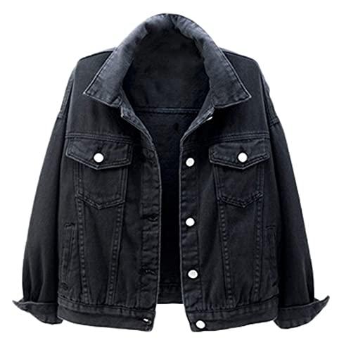 SANGTREE Women's Basic Button Up Long Sleeves Denim Jean Jacket, Black, US Medium = Tag XL
