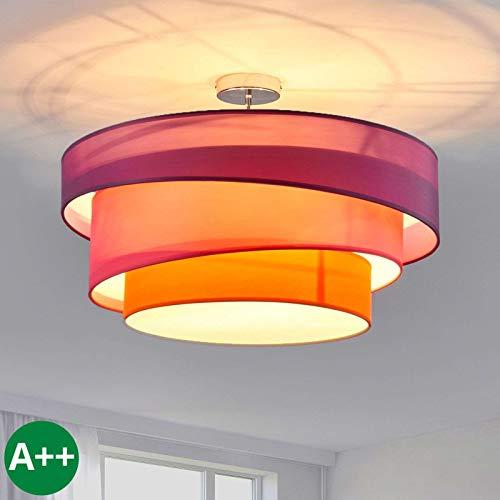 Lindby Stoff Deckenlampe rund 56 cm | 3 flammig | 3 Ringe | Textil Deckenleuchte Violett, Pink, Orange | Deckenleuchte Stoff für Schlafzimmer, Wohnzimmer, Esszimmer