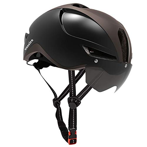 WONEIRA Bike Helmet, Bicycle Helmet with Detachable Magnetic Goggles and Rear Light for Adult Road/Biking/Mountain Cycling Helmet Men/Women CPSC Safety Standard (Titanium Black)