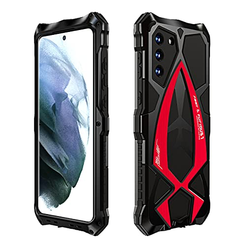 RAYOO Case for Samsung Galaxy S21 Plus S21+ 5G Tough Armor Cover,360 Degrees Full Body Protection Outdoor Case Heavy Duty Shockproof Hybrid Armour Aluminium Metal Bumper wtih Lanyard Strap,Nero+Rosso