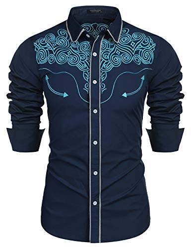 COOFANDY Men's Western Shirts Long Sleeve Slim Fit Embroideres Cowboy Casual Button Down Shirt (Blue%, Medium)