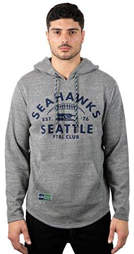 Ultra Game NFL Seattle Seahawks Mens Fleece Hoodie Pullover Sweatshirt Vintage Logo, Gray Snow, X-Large