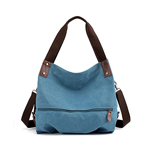 GJGJTER, nuevo bolso de mensajero portátil Color sólido informal suave para mujer, mano lona cruzado, bolsos-Azul