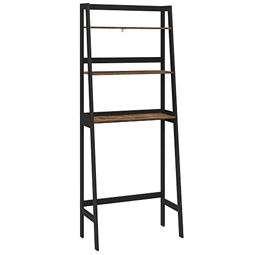 SONGMICS Over The Toilet Storage Organizer, 3-Tier Bathroom Space Saver, Multifunctional Toilet Storage Shelf, Bamboo Frame, Each Shelf Holds Up to 33 lb, Easy to Assemble, Rustic Brown, UBTS011B01