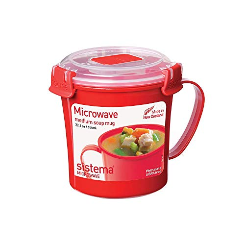 Sistema Microwave Suppentasse, 656 ml, rot/transparent