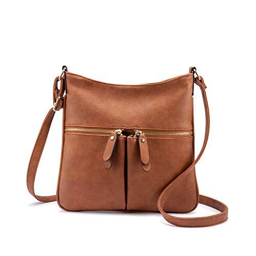Realer Umhängetasche Damen Schultertasche Crossover Tasche Handtasche Klein Kunstleder für Frauen Braun