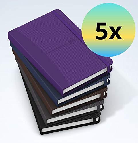 Oxford 100735206 Notizbücher Signature im Format DIN A6 liniert 5er Pack je 160 Seiten und Gummibandverschluss in 5 Farben mit SCRIBZEE App zum digitalisieren ihrer Notizen
