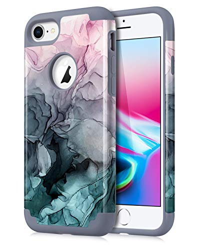 Dailylux iPhone 7 Case,iPhone 8 Case Marble Pattern Girls Women Men Floral Slim Hybrid Hard PC Soft Silicone Anti-Slip Shockproof Protective Case for iPhone 7/8 4.7' Ink Watercolor