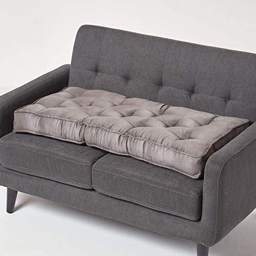 Homescapes Sitzkissen für 2er Couch mit Veloursbezug, grau, Dickes Sitzpolster für 2-Sitzer Sofas und Gartenbänke 100 x 50 cm, extra Lange Sitzauflage/Bankauflage mit Tragegriff