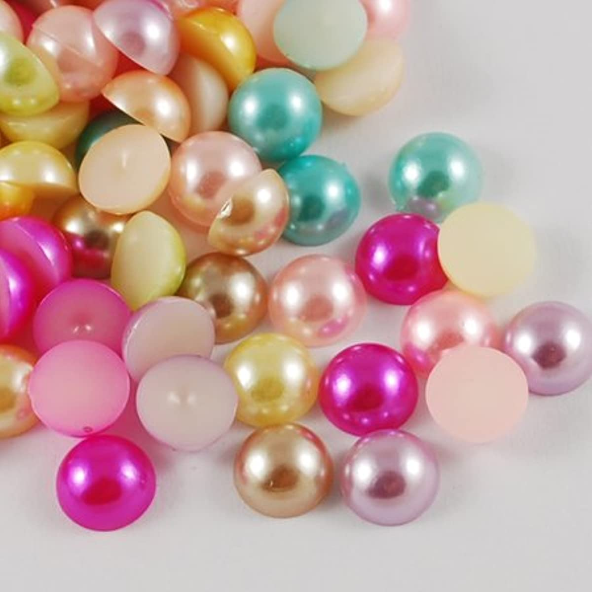 200pc Pearl Assortment Color Acrylic Kawaii Flat Back Cabochons Stones for Jewelry Making, Crafts (Round, 10mm)