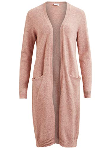 Vila Clothes Damen VIRIL L/S Long Knit Cardigan-NOOS Strickjacke, Rosa (Ash Rose Detail:Melange), 34 (Herstellergröße: XS)