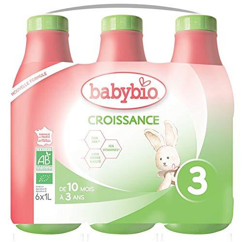Babybio Lait Croissance Liquide - 3ème âge dès 10 Mois - 6x1L - BIO Fabriqué en France & Lait français - Formule PREMIUM : DHA/ARA