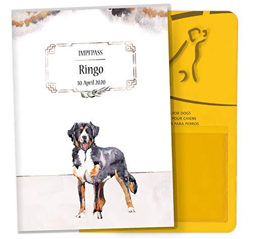 Impfpass Hülle für Tiere Cosmo Hunde Tierausweis Schutzhülle schöne Geschenkidee personalisierbar mit Namen und Geburtsdatum (Blacky, Impfpasshülle personalisiert)