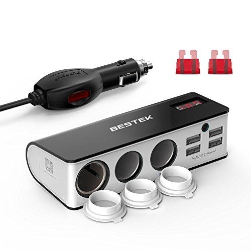BESTEK 3 Fach Zigarettenanzünder 200W Verteiler mit 4 USB Anschlüsse Adapter 12/24V DC Auto Ladegerät für Smartphone Tablet GPS usw, mit 2 Sicherun, Grau