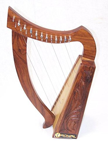 12 String Harp Celtic Design Extra Strings Tuner Carrying Case New