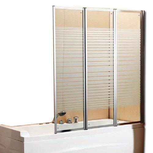 Windy Badewannen-Aufsatz/ Duschkabinen-Wand, Glas mit Siebdruck-Dekor, 140x130cm