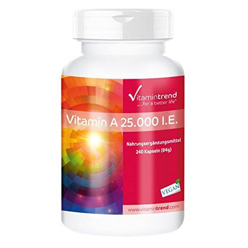 Vitamina A 25.000 I.E acetato de retinol – producto vegano – altas dosis – 240...
