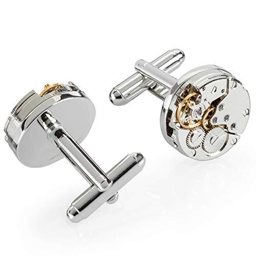 Antonow - Edle Herren Maschettenknöpfe zur Hochzeit in Silber mit Uhrwerk und Geschenk Box - Antonov