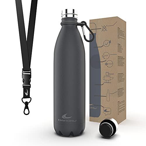 Daikoku Botella Acero Inoxidable + Cinta ajustable + Mosquetón + Anillo Silicona - Termo Doble Pared Libre BPA - 12 Horas Caliente - 24 Horas Fría – Botella Reutilizable - 750ml - Color Gris