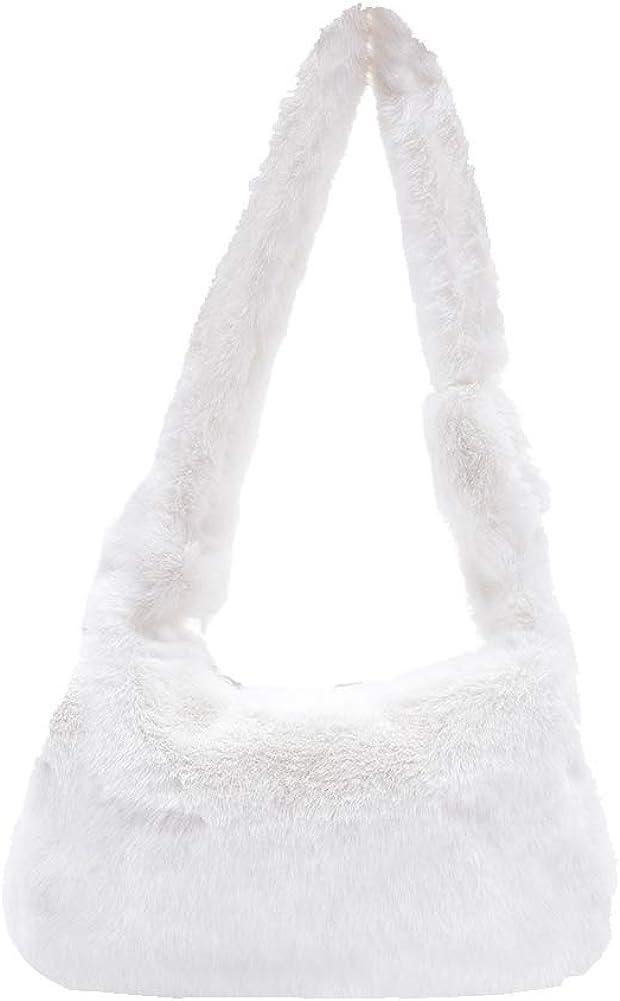 Plush Underarm Bag Women Fluffy Shoulder Bag Solid Plush Handbags New Winter