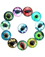 HEALLILY 20 Piezas de Vidrio Ojos de Animales Ojos de Dragón Ojos de Vidrio Cabujones Muñeca de Juguete Ojos para Manualidades Bricolaje Scrapbooking Joyería Haciendo Colores Mezclados 20Mm
