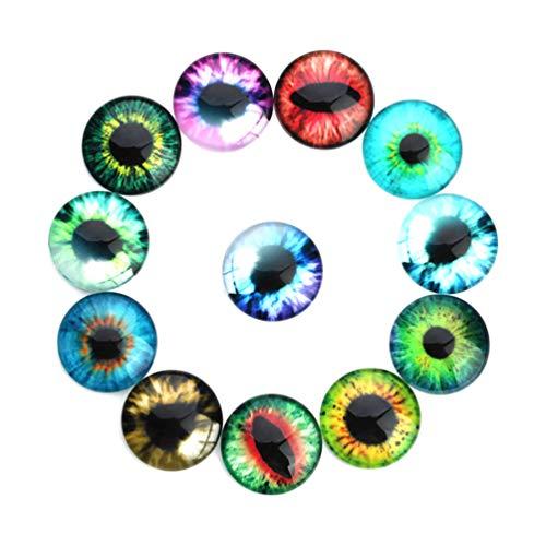 HEALLILY 20 Piezas de Vidrio Ojos de Animales Ojos de Dragón Ojos de Cristal Cabujones Muñeca de Juguete Ojos para Manualidades Bricolaje Scrapbooking Joyería Haciendo Colores Mezclados 12Mm