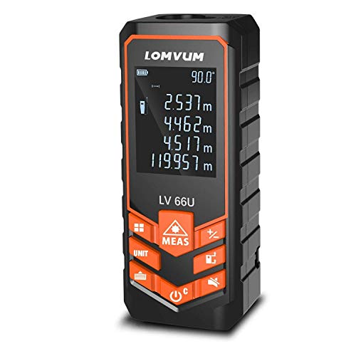 Telémetros láser,LOMVUM 100M Medidor de Distancias Digital,Metro Láser con precisión 1mm, Niveles de Electronico