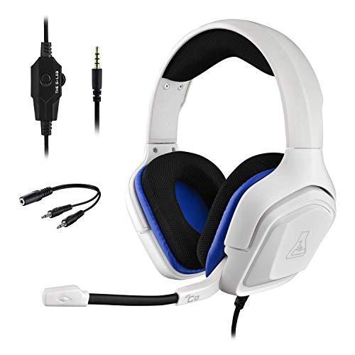 THE G-LAB Korp Cobalt Gaming Headset PS4 - Stereo Mikrofon, Ultraleicht, Ultra Bass Stereo Headset - 3,5 mm Klinke für PC PS4 Xbox One Mac Nintendo Switch Tablet Smartphone (weiß)