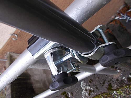 Holly Support de Porte en Acier Inoxydable – Support Double à 360 ° – pour Baguettes à Glace – Diamètre 32 mm – pour Balustrade – Éléments Ronds jusqu'à 60 mm de diamètre