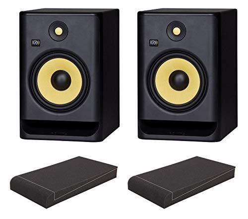 KRK ROKIT RP8 G4 ISO-Stand Set (aktives Studiomonitor Paar, 2-Wege, bi-Amp, 8 Zoll, 203 Watt inkl. ein Paar Absorberplatten) Schwarz