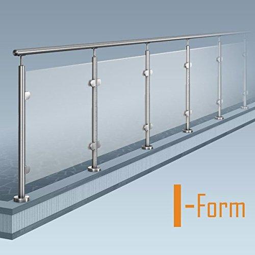 Glas-Pfosten-Geländer, I-Form (ohne Ecke), Bausatz DIY, aufgeschraubte Montage, Länge bis 11 m
