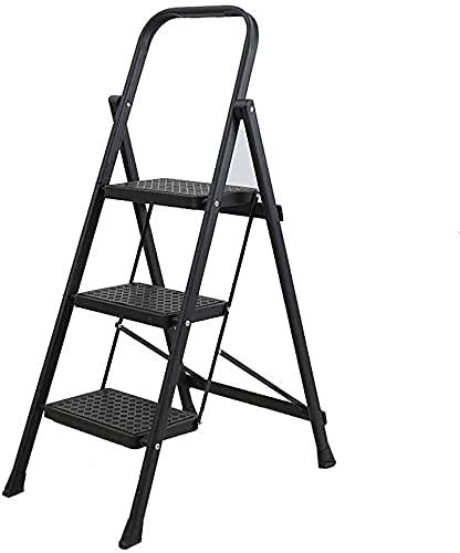XIAOYU Stepladder multipurposedoor, scale multifunzione Pieghevole Stepladder   3 Step Ladder   4 Step Ladder - 150 kg Capacità di carico - Cucina Sgabello (Colore: rosso, Dimensioni: 41 * 66 * 104 cm