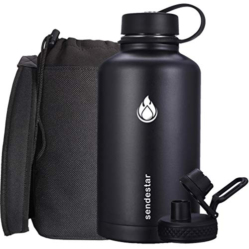 Sendestar Stainless Steel Water Bottle-24oz, 40oz or 64oz with New Straw Lid and Spout Lid, Keeps Liquids Hot or Cold with Double Wall Vacuum Insulated Sweat Proof Sport Design (64 oz-Black)